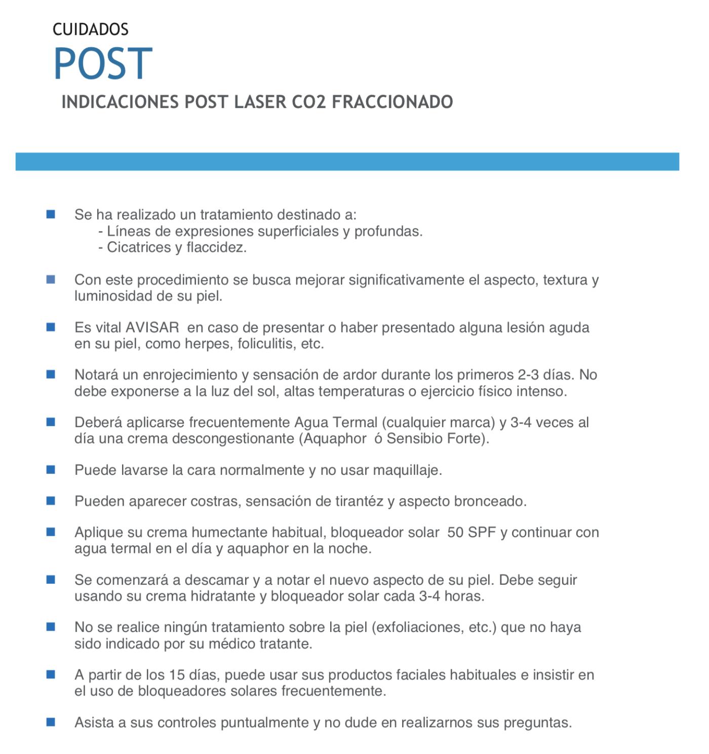Recomendaciones post laser co2